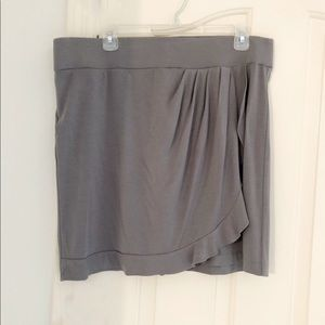 LOFT Gray Elastic Waste Wrap Short Skirt